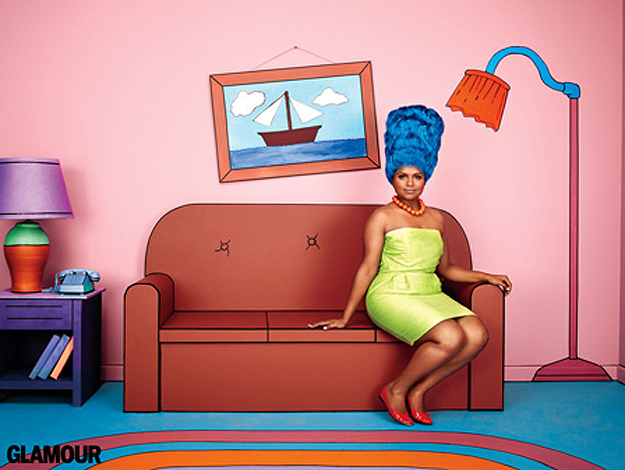 Mindy Kaling Finds Her Marge Simpson For Photo Shoot