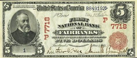 In this photo provided by Heritage Auctions, the front of a 1905 $5 bill is shown. How do you turn a $5 bill into $200,000? Let it sit around a century or so. A Dallas auctioneer is about to off a $5 bill presented in 1905 to Vice President Charles W. Fairbanks _ Theodore Roosevelt's No. 2 _ from the First National Bank of Fairbanks, Alaska. (AP Photo/Heritage Auctions)