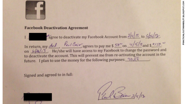 Dad To Pay Daughter $200 to quit Facebook For Five Months