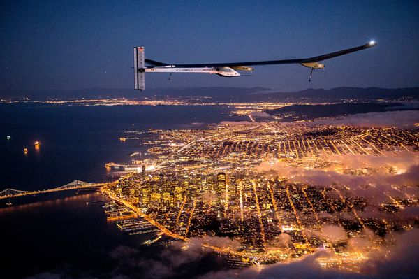 The Solar Impulse plane sets off from San Francisco in the early morning hours May 3. The solar-powered plane is set to land in Phoenix very early Saturday and later make stops in four other cities.