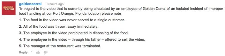Golden Corral Dumpster Video Spotlights Food Safety Violations