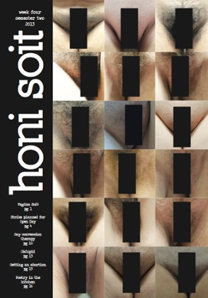 Honi Soit's censored cover - the issue was still pulled off shelves as the black bars were 'too transparent'. An uncensored version of the cover can be seen below. Photograph: Honi Soit. Photograph: Jennifer Yiu/Honi Soit