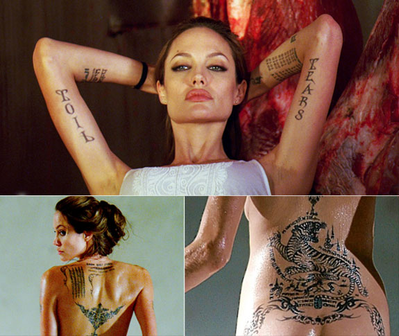 """Angelina Jolie Explains Her tattoos """"prayer for the wild at heart"""""""