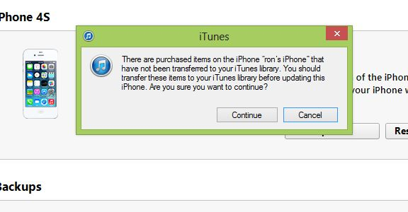 """Update Warning """"There are items purchased on the iPhone that have not been transferred"""""""