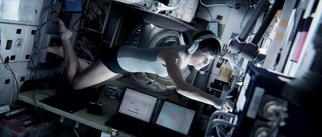 "Sandra Bullock floating through a scene from ""Gravity"""