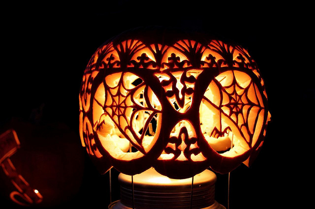 Tiffany-Style Jack O'Lantern It's more like an intricate lampshade than your traditional jack o'lantern idea. Flickr photo by BrandiKorte.