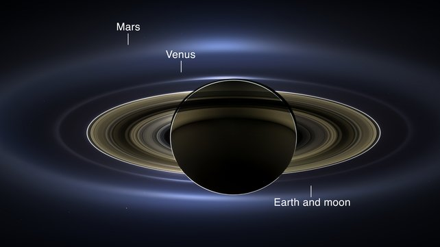 NASA has released a stunning new composite image of Saturn, in which its moons, rings, the Earth, Venus and Mars are all visible (Pic: NASA/JPL-Caltech/SSI)