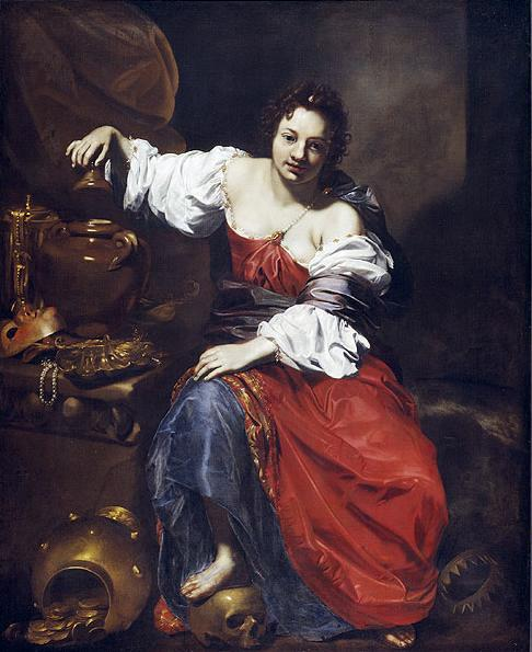 Pandora, c. 1626, Nicolas Régnier correctly portrayed Pandora with a jar, not a box, in his Allegory of Vanity—Pandora