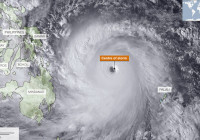 Satellite images show the extent of the storm as it approached the Philippines on 7 November. At times it stretched 600km (372 miles) across. If the same storm was placed over a map of Europe it would stretch from London to Berlin.
