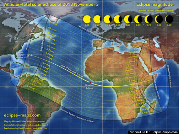 This overview map of the Nov. 3, 2013 annular and total solar eclipse, a hybrid solar eclipse, shows the path of the event. Cartographer Michael Zeiler of Eclipse-Maps.com created this map.