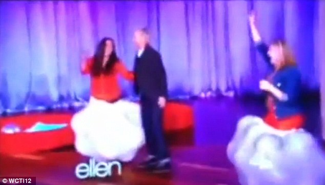 Dream prize: This past January, Cherilyn McGraw (far right) went on The Ellen DeGeneres Show and won a trip for two to Australia after stuffing the most balls into a bag (pictured)