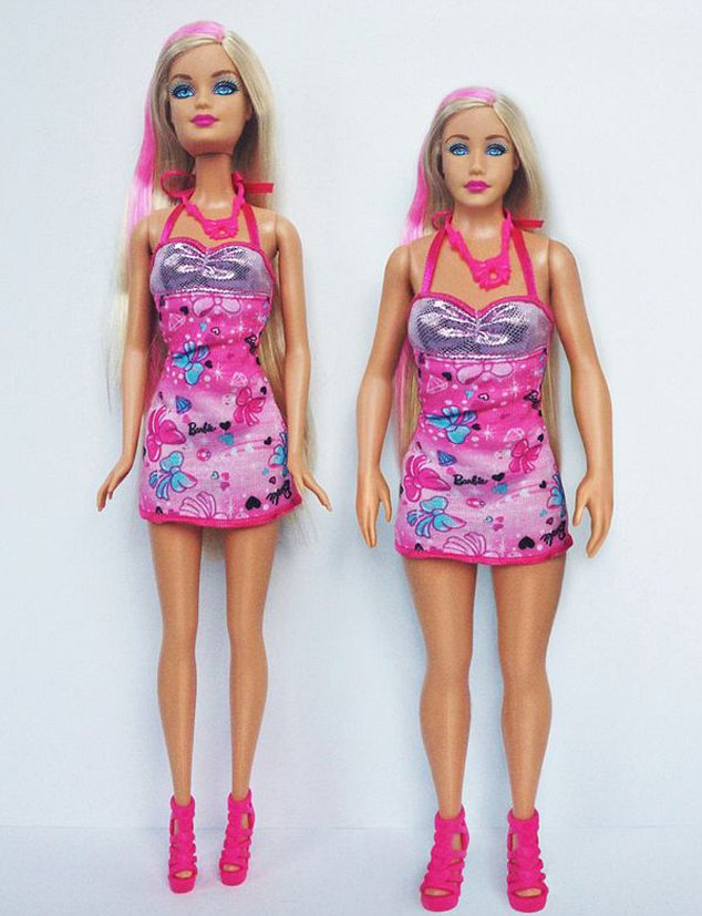 Barbie vs a 'healthy' woman: Artist Nickolay Lamm created a Barbie-like doll based on CDC measurements of the average 19-year-old woman, and photographed it alongside a traditional Barbie doll