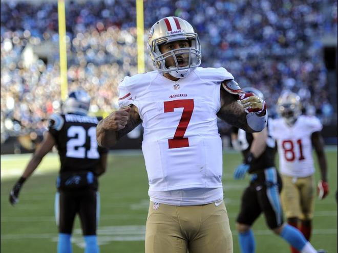 kaepernick copies Newton's superman touchdown celebration