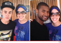 Justin and his mentor posed for pics with a woman who appears to be a Panamanian Belieber (they really are everywhere).