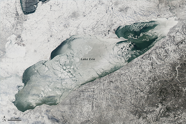 The intense cold snap that gripped much of central Canada and the United States in early January 2014 brought thick and widespread ice to the Great Lakes. Though parts of the lakes freeze every winter, several news media and meteorologist accounts suggested that January ice cover was thicker and more widespread than it has been in nearly two decades. The ice cover was hampering ship traffic in the region, according to news reports.