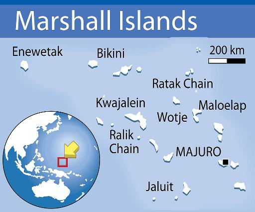Map locating the Marshall Islands, in the northern Pacific Ocean, which are home to barely 60,000 people spread over 24 atolls (Graphics/AFP)