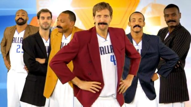 The Dallas Mavericks took a little time off from playing to have a little fun, Anchorman style.