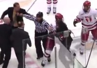 Union coach Rick Bennett (top left) is restrained from getting to RPI's Seth Appert