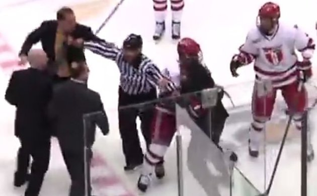 hockey team brawl, coaches suspended for two games (VIDEO)