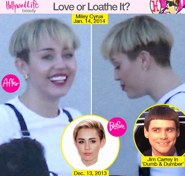 miley cyrus Gets New Haircut:  Rocks A Bowl Cut