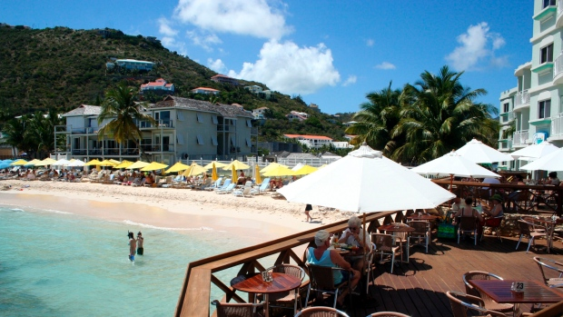 This undated photo shows a view of a beach on the island of St. Maarten in the northeast Caribbean. (AP /St. Martin Tourism Bureau)