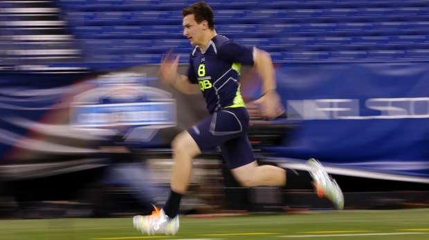 Texas A&M quarterback Johnny Manziel was among the fastest quarterbacks in Sunday's 40-yard dash testing.