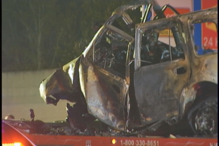 Little remained of a Ford Expedition that was involved a fiery crash that killed its driver and four young men in another vehicle. The Expedition was traveling the wrong way on I-275, troopers said.