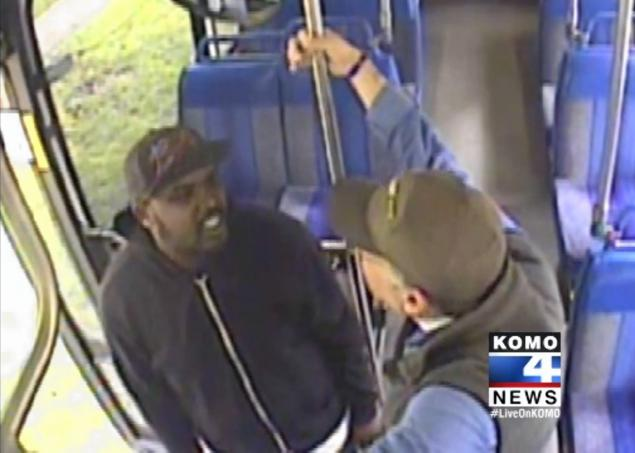 KOMO-TV The confrontation between the rider, left, and the driver, right was caught by security cameras.