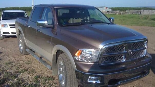 RCMP released a photo showing a 2010 Dodge truck - Alberta license plate NED 553 - stolen from Royal Oaks in Grande Prairie on Tuesday, February 25. (Alberta RCMP)