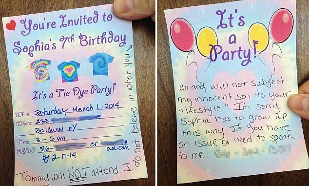 Mum posts awful RSVP Note To Gay Dads