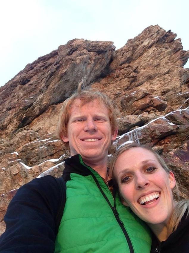FACEBOOK BASE jumper Amber Marie Bellows, 28, (right) fell 2,000 feet to her death when her parachute failed. Her husband of two weeks, Clatyon Butler, 29, (left) jumped after her but could not help her.
