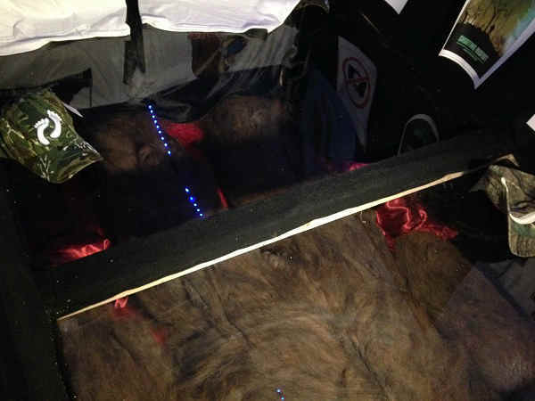 On display: Rick Dyer released this new image, supposedly showing the Bigfoot he killed lying dead on the floor of his tent. He is now taking the corpse on a cross-country tour