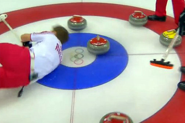 Russian curler face-plants