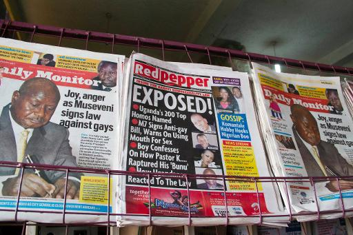 A newspaper stand in Kampala displays Uganda's local dailies on February 25, 2014, a day after the president signed a tough new anti-gay law (AFP, Isaac Kasamani)
