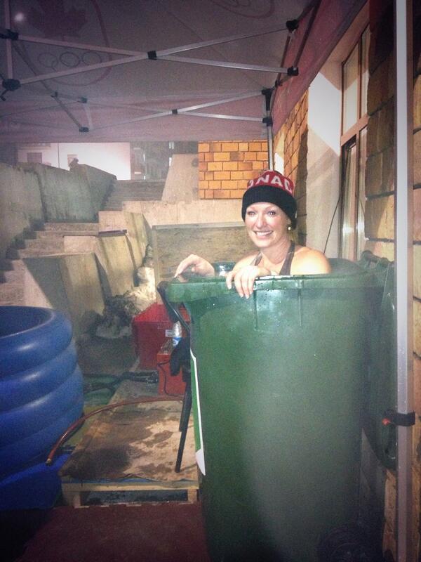 Heather Moyse's Public Olympic Bath in a Trash Can