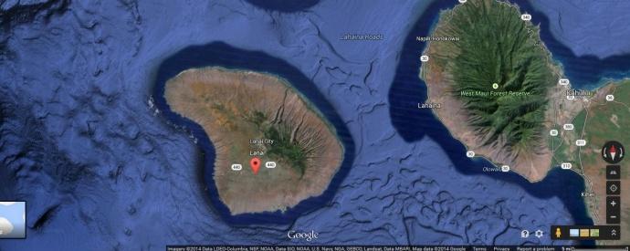 L?na?i plane crash site. Map courtesy Google Earth.