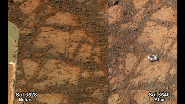 NASA/Associated Press -  FILE - This composite image provided by NASA shows before and-after images taken by the Opportunity rover. At left is an image of a patch of ground taken on Dec. 26, 2013. At right is in image taken on Jan. 8, 2014 showing a rock shaped like a jelly doughnut that had not been there before. Researchers have determined this now-infamous Martian rock resembling a jelly doughnut, dubbed Pinnacle