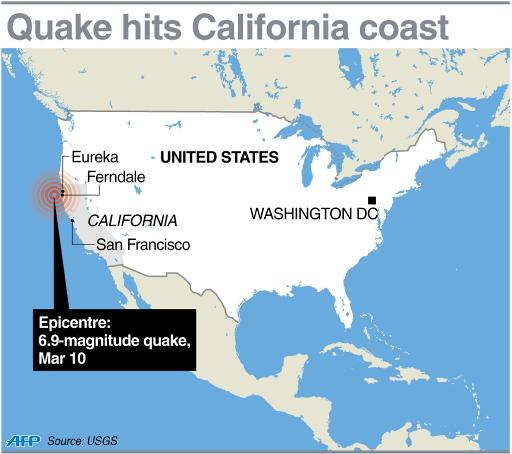 Map of US locating the 6.9-magnitude quake that struck off the coast of California