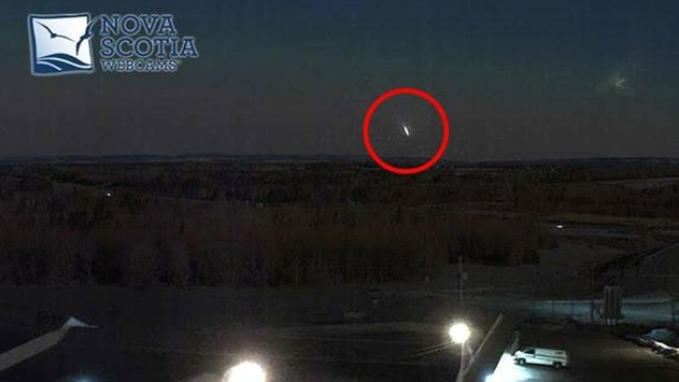 A Nova Scotia Webcams' image captured a bright light in the sky near the Masstown Market. The group said the image isn't as bright as it would have been to the human eye. (Nova Scotia Webcams)