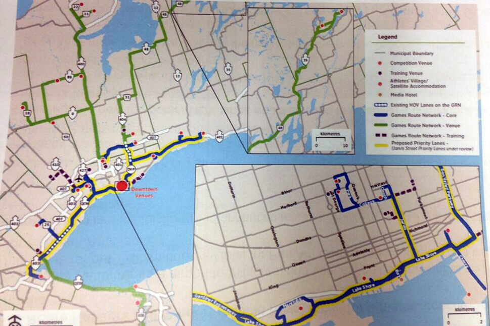 A map of proposed high-occupancy vehicle (HOV) lanes for the Pan Am Games. CITYNEWS/Amanda Ferguson.