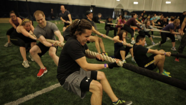 Exercises work up a sweat during a military-style fitness class. Photo courtesy 16x9