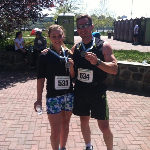 Rachel Canning (left) and her father Sean in happier times. The duo proudly display their medals from completing a local race.