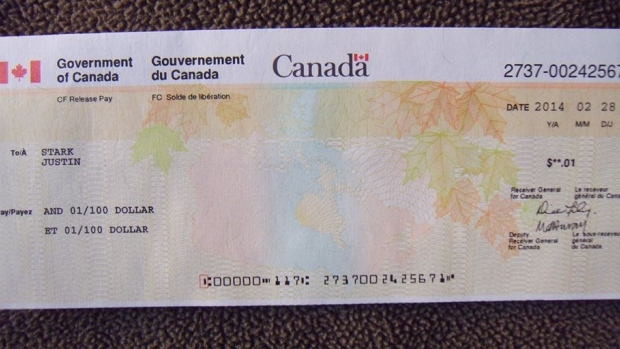 This one-cent cheque dated Feb. 28 was sent to the home of Cpl. Justin Stark. The 22-year-old former soldier committed suicide in 2011 in Hamilton. His family wants to make sure this never happens again. (Supplied)