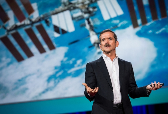 Canadian former astronaut Chris Hadfield spoke Monday night at TED. Photograph by: James Duncan Davidson , TED