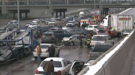 Credit: KUSA One person was killed and 30 were injured in a 104-car pile up along Interstate 25 in Denver, March 1, 2014.