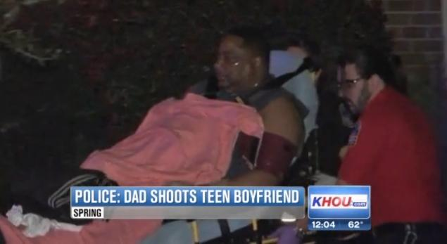 KHOU  The unidentified father of the 16-year-old girl is seen wheeled out of the home after reporting of feeling unwell after the shooting.