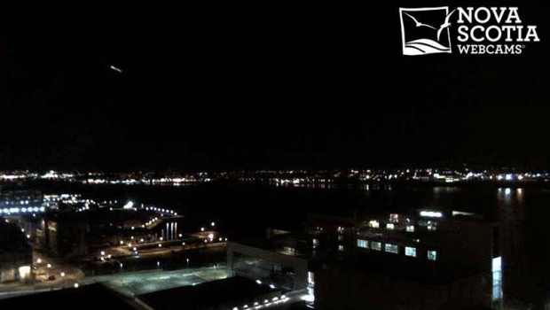 A Halifax webcam captured a bright light shooting across the sky at 5:17 a.m. on Wednesday, March 19, 2014. (Nova Scotia Webcams)