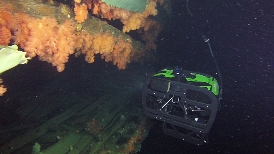 The ROV taking video of starboard side of the Breadalbane's lower hull