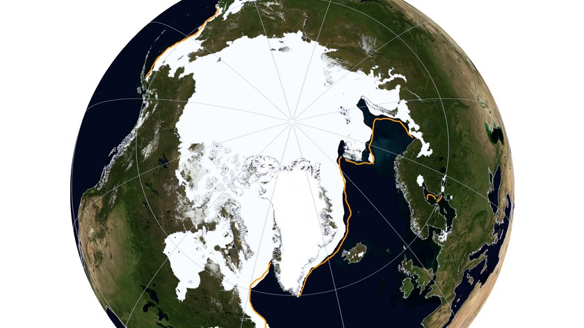 Source: NSIDC A NASA Blue Marble view of Arctic sea ice on March 21, 2014. Arctic sea ice reached its maximum extent for the year on March 21 at 14.91 million square kilometers (5.76 million square miles), making it the fifth lowest maximum in the satellite record.