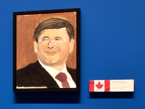"""A closeup image of Canadian Prime Minister Stephen Harper from """"The Art of Leadership: A President's Personal Diplomacy"""" at the George W. Bush Presidential Center in Dallas, Texas, running April 5 through June 3, 2014."""
